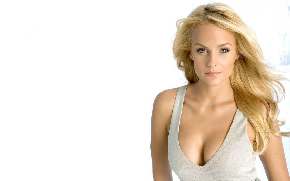 Blondes women blue eyes cleavage mirjam weichselbraun white background wallpaper