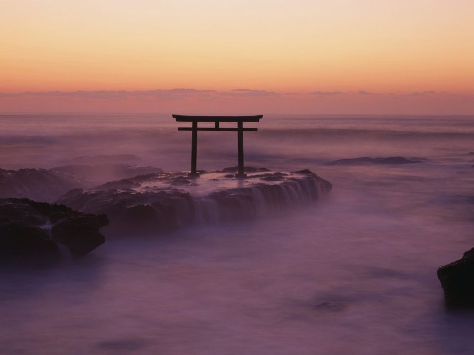 Water clouds landscapes nature fog mist torii skyscapes wallpaper