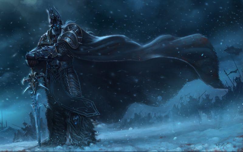 Snow world of warcraft lich king armor arthas artwork swords games wallpaper