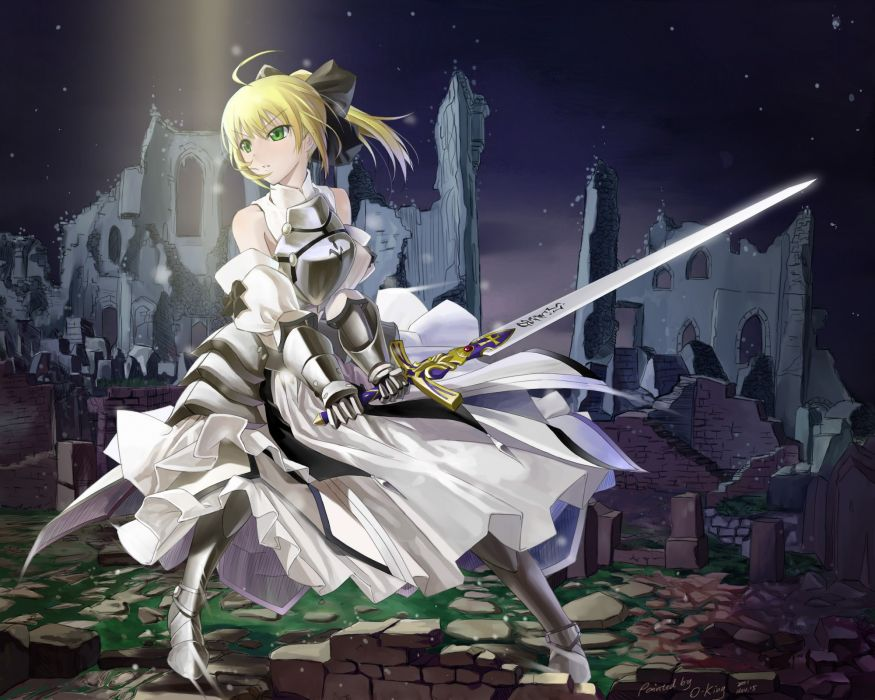 Blondes fatestay night dress night excalibur green eyes armor fatezero saber lily detached sleeves hair bow fate series wallpaper
