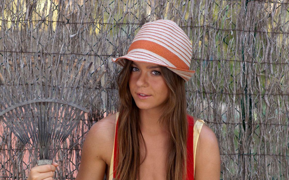 Brunettes women hats lily c wallpaper
