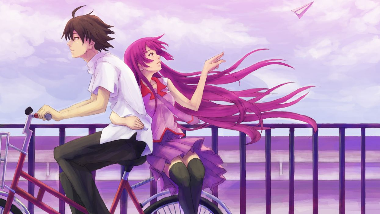 Stockings skirts bakemonogatari araragi koyomi shirts senjougahara hitagi anime cycling wallpaper