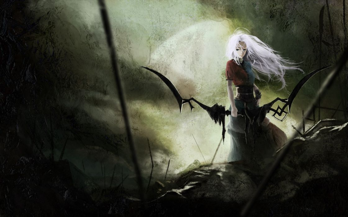 Video games touhou ruins dark dress long hair weapons white hair yagokoro eirin skyscapes bow (weapon) akaikitsune wallpaper