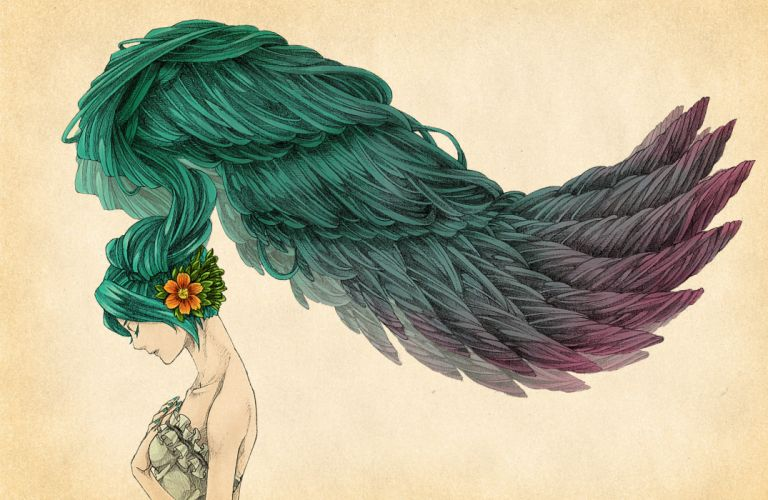 Wings vocaloid flowers hatsune miku long hair feathers green hair artwork closed eyes simple background bicolored hair nail polish hair ornaments wallpaper
