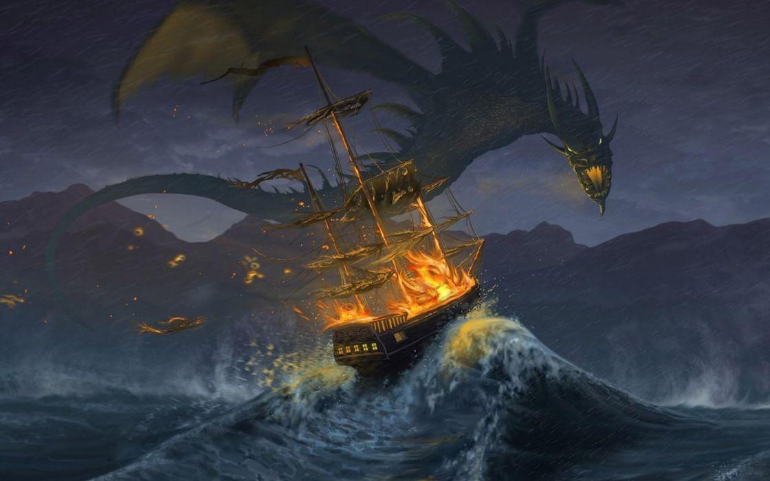 Dragons waves fire ships fantasy art wallpaper