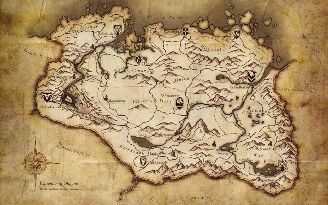 Maps the elder scrolls v skyrim skyrim map wallpaper