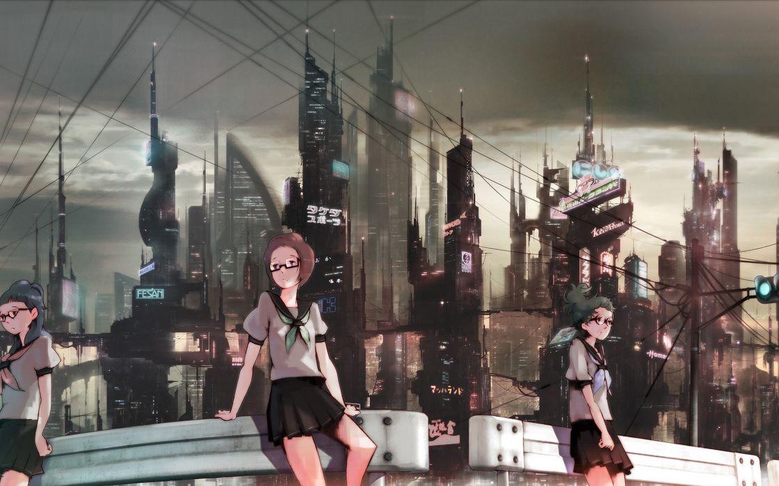 Cityscapes futuristic school uniforms glasses meganekko anime girls wallpaper