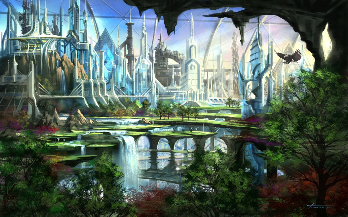 Cityscapes futuristic garden fantasy art waterfalls wallpaper