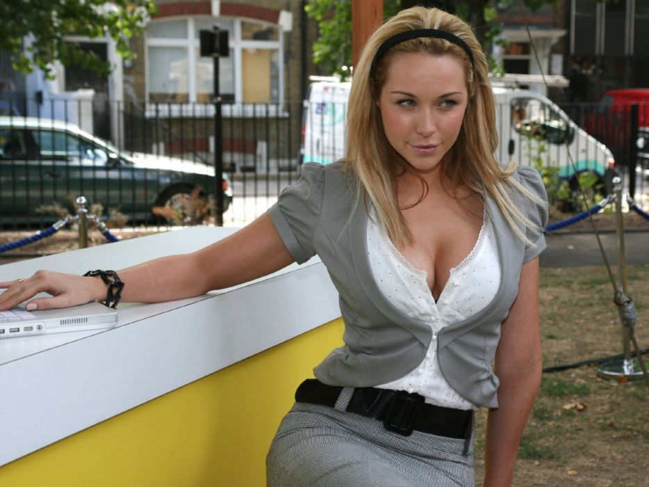 Blondes women cleavage outdoors emily scott headbands wallpaper