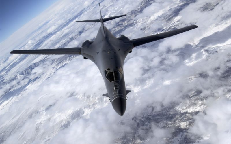 Clouds aircraft military bomber skyscapes b1 lancer wallpaper