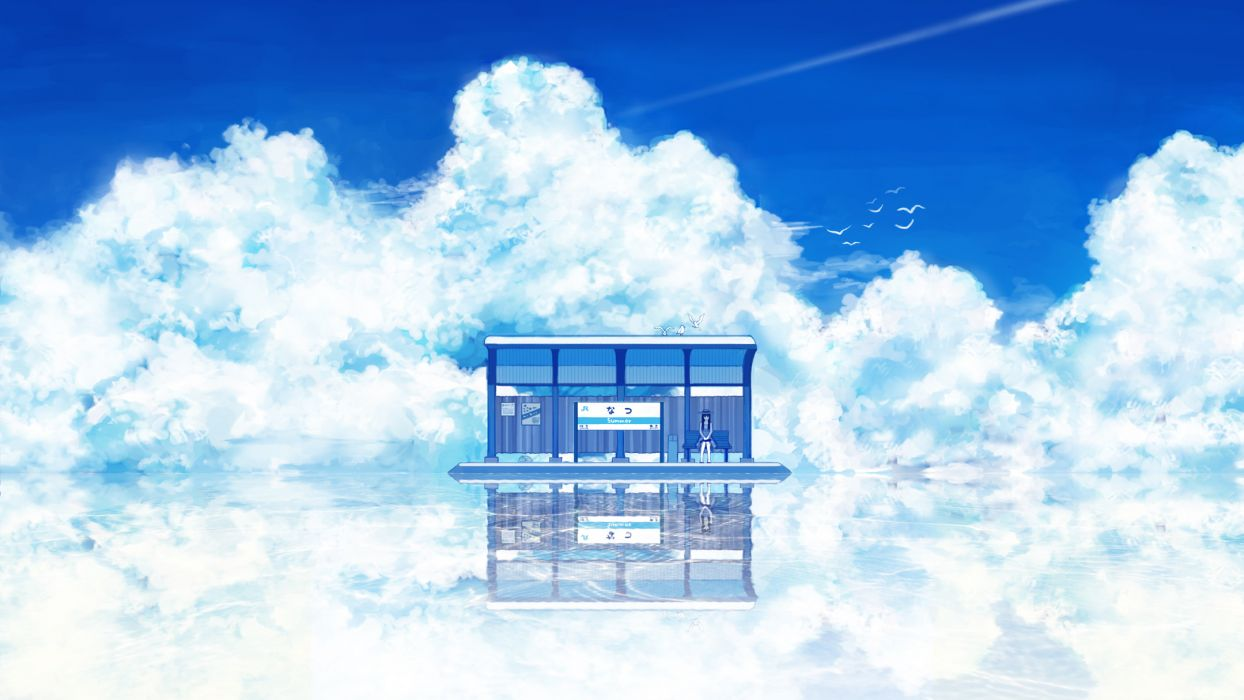 Clouds fantasy art train stations wallpaper