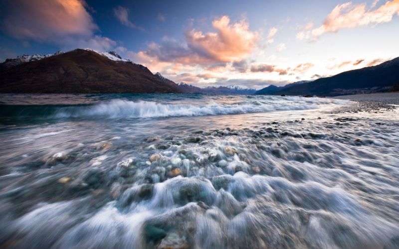 Mountains clouds rocks deviantart riverside rivers wallpaper
