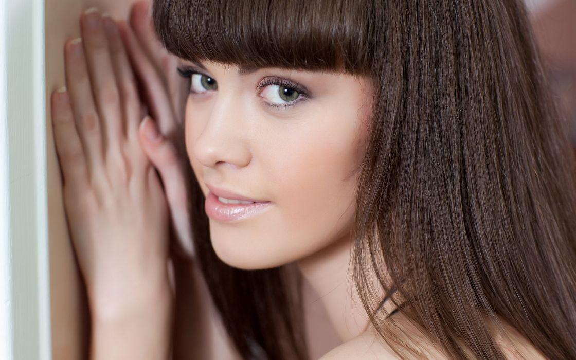 Brunettes women models met-art magazine black dress gray eyes faces candy rose wallpaper