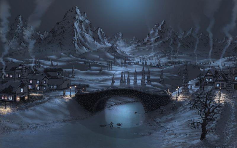 Mountains winter snow night bridges artwork fel-x wallpaper