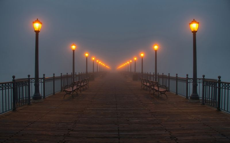 Water fog pier lamps wallpaper