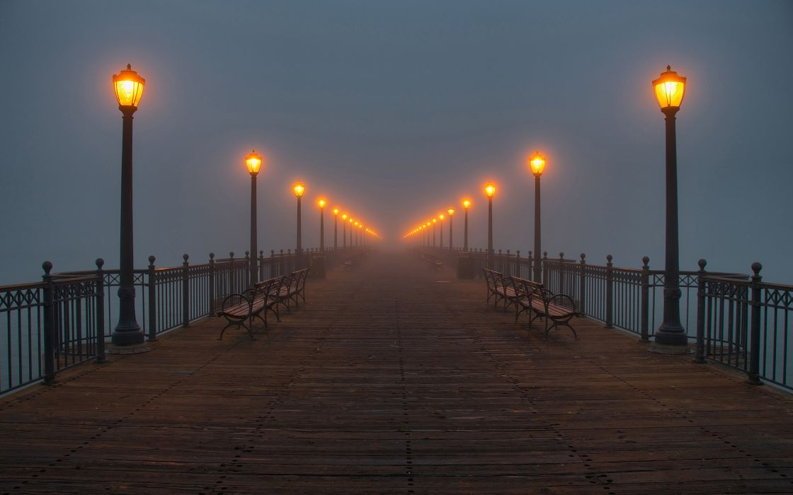 Water fog pier lamps wallpaper