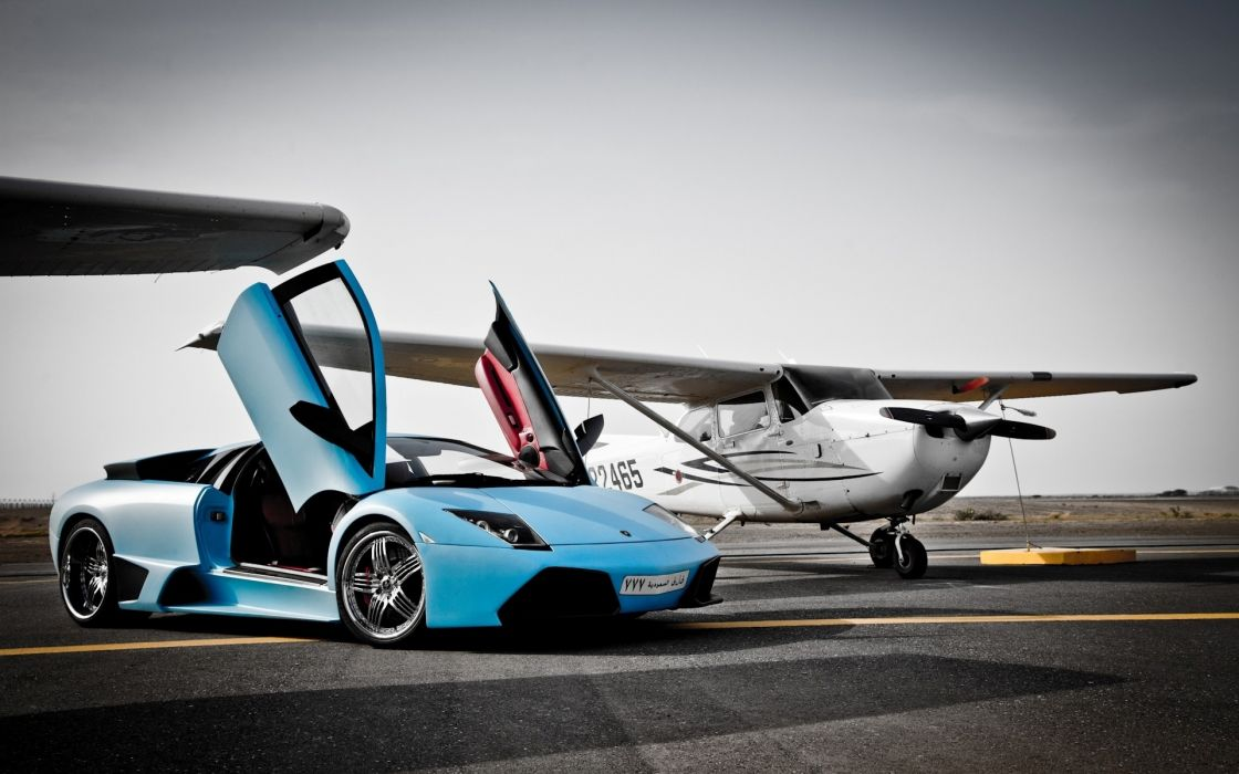 Blue airplanes cars lamborghini airports runway vehicles lamborghini murcielago rims sport cars skyscapes wallpaper