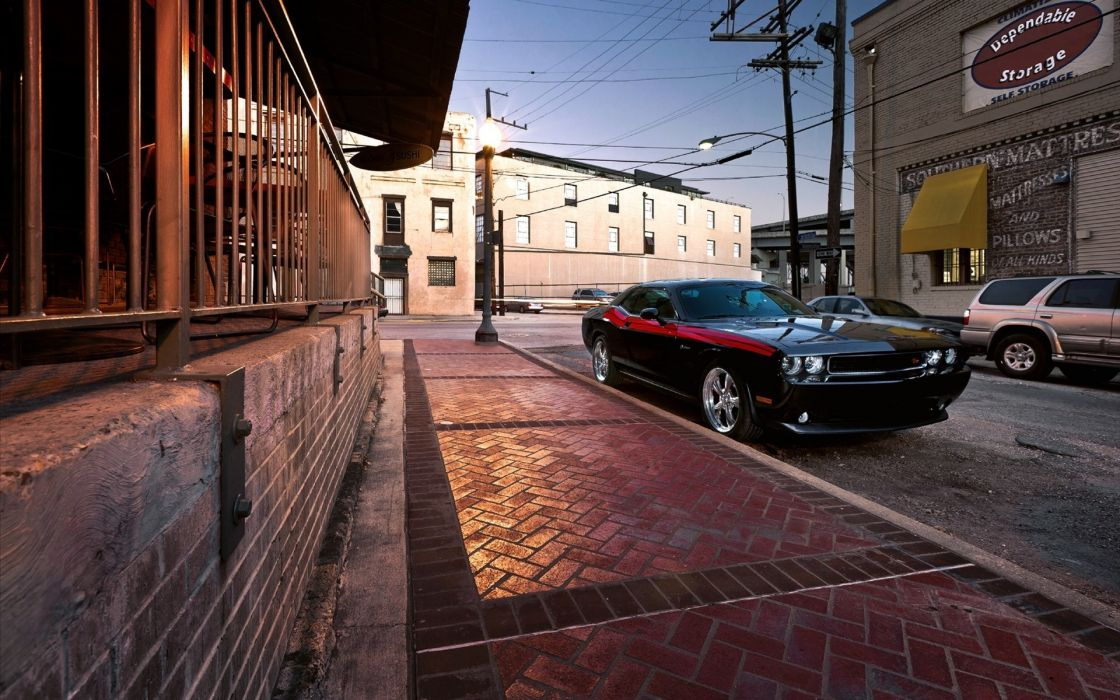 Streets cars vehicles dodge challenger black cars wallpaper