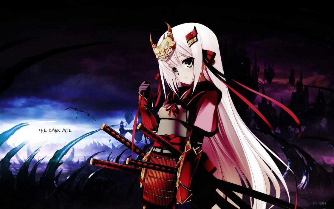 Dark katana samurai long hair ribbons weapons armor pink hair anime girls swords hair ornaments wallpaper