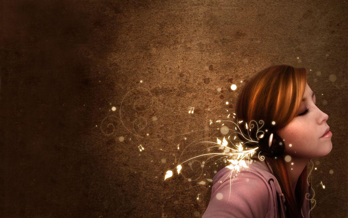 Music headphones girl wallpaper