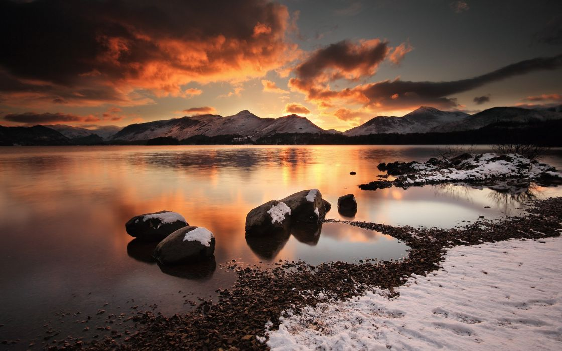 Water sunset mountains clouds landscapes nature winter beach wallpaper