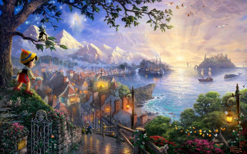 Sunset landscapes disney company movies ships fantasy art pinocchio villages thomas kinkade fairy tales wallpaper