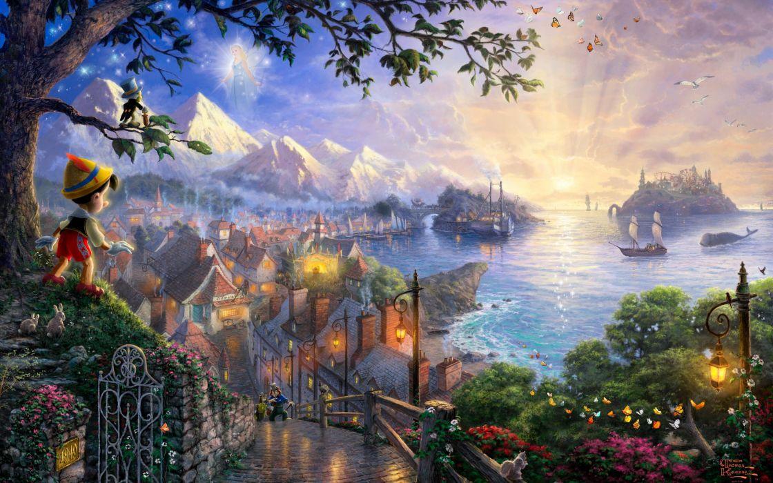Sunset Landscapes Disney Company Movies Ships Fantasy Art Pinocchio