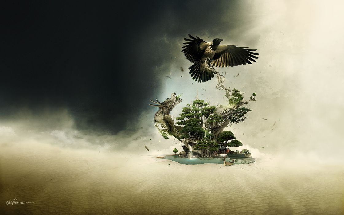 Dragons oasis crows wallpaper