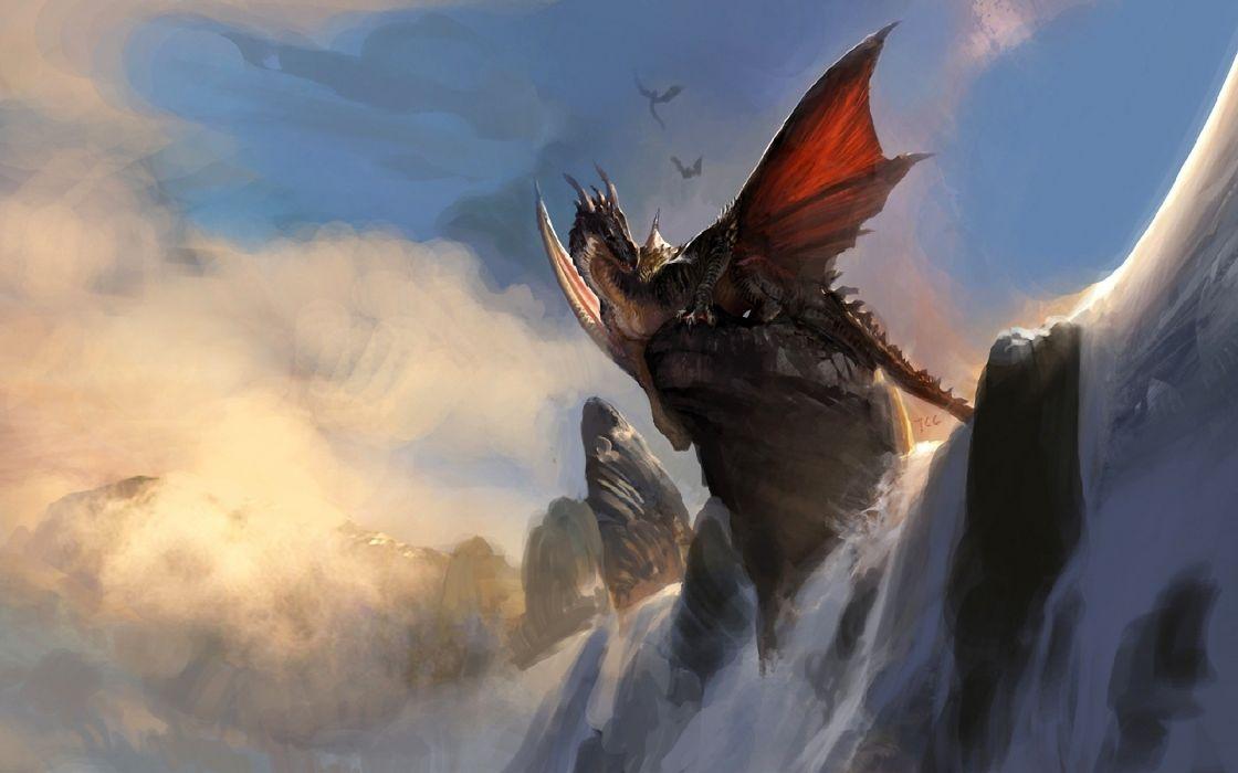 Wings dragons fantasy art artwork waterfalls wallpaper