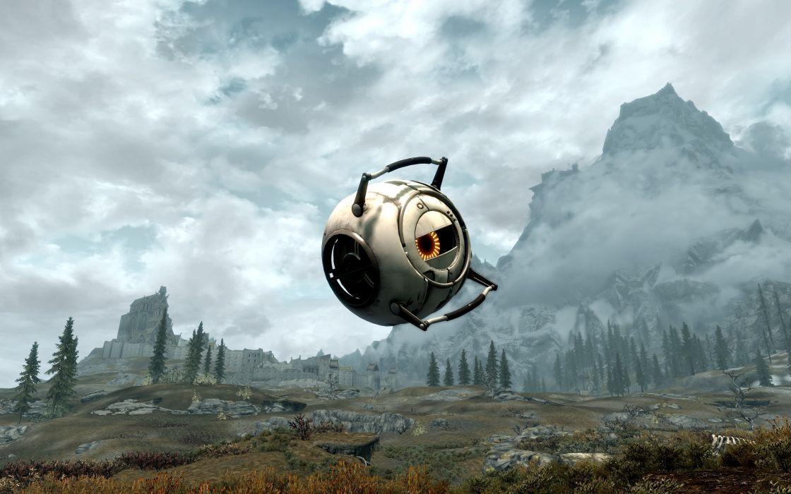 Video games portal artwork easter eggs the elder scrolls v skyrim wallpaper