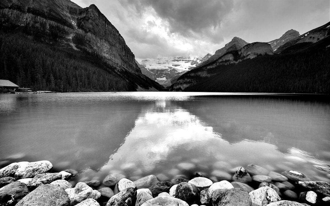 Rocks grayscale monochrome lakes wallpaper