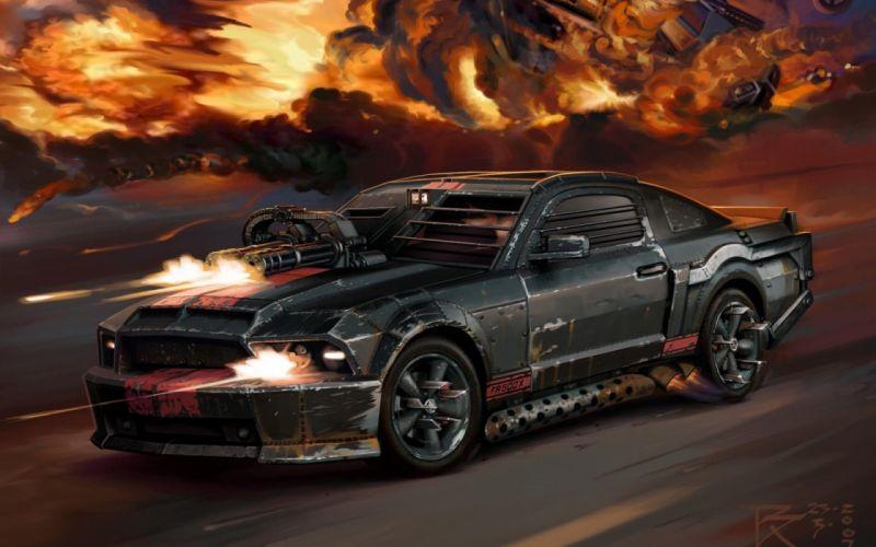 Black guns cars explosions digital art artwork death race wallpaper
