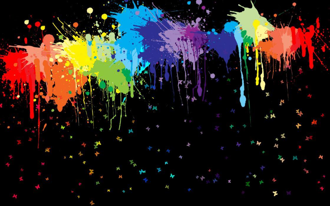 Abstract rainbows splatter wallpaper