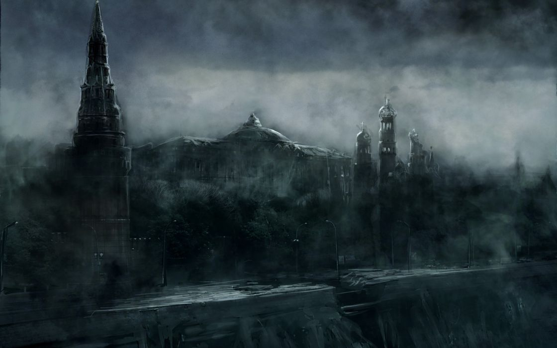 Ruins post-apocalyptic architecture mist buildings fantasy art digital art wallpaper