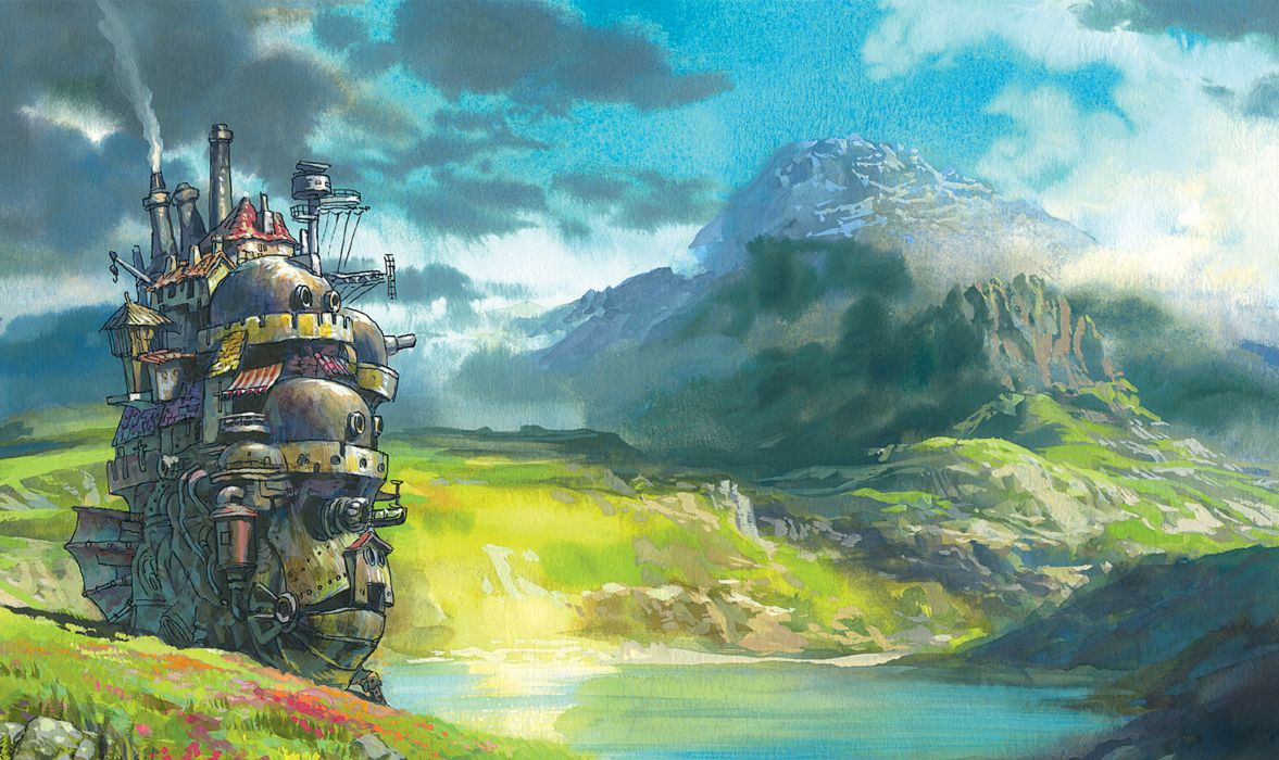 Mountains landscapes fantasy art anime rivers howl's moving castle hauru wallpaper
