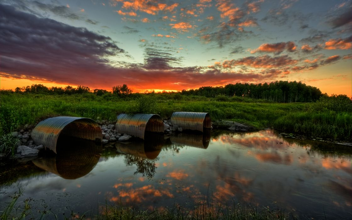 Sunset clouds landscapes nature hdr photography reflections wallpaper