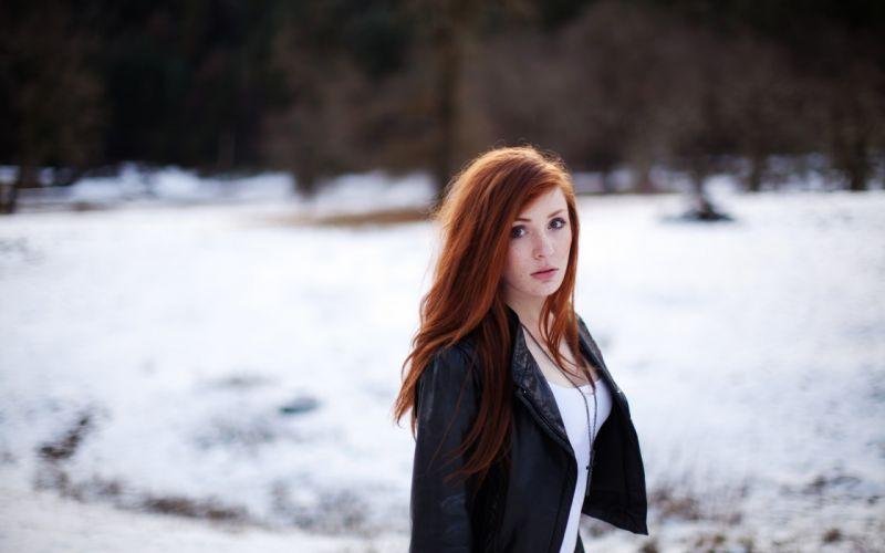 Women winter snow redheads models wallpaper
