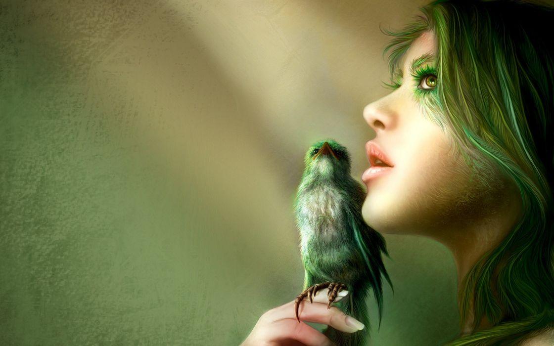 Green women fantasy birds fantasy art green hair wallpaper