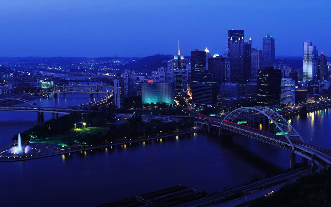Night bridges pittsburgh cities wallpaper
