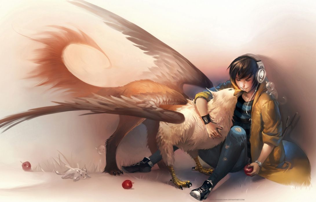 Headphones brunettes jeans animals fruits fantasy art short hair hug sitting male boys closed eyes griffin gryphon torn clothing apples sakimichan wallpaper