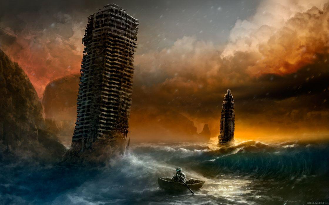 Sunset sea escape route romantically apocalyptic vitaly s alexius comic mr wallpaper