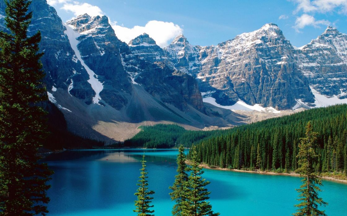 Mountains nature forest canada alberta lakes banff national park pine tree wallpaper
