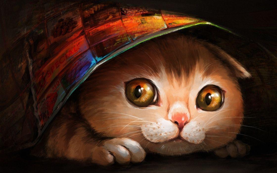 Multicolor cats animals artwork ryuuka nagare wallpaper