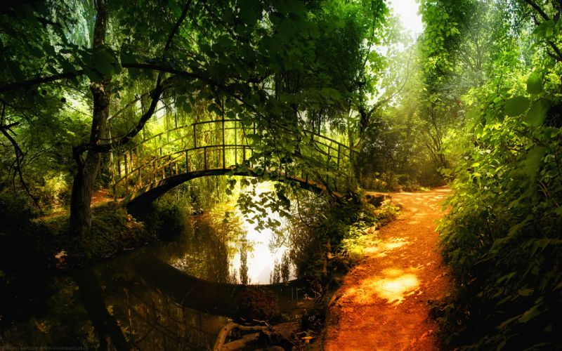 Landscapes nature garden bridges parks wallpaper