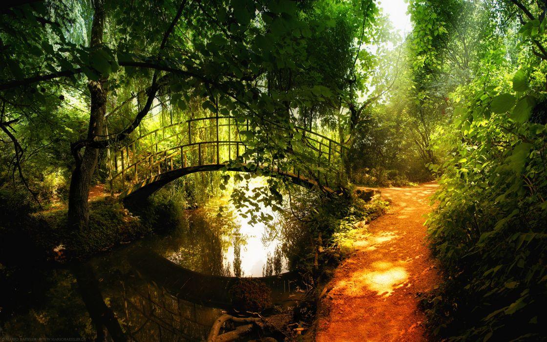 Landscapes nature garden bridges parks wallpaper