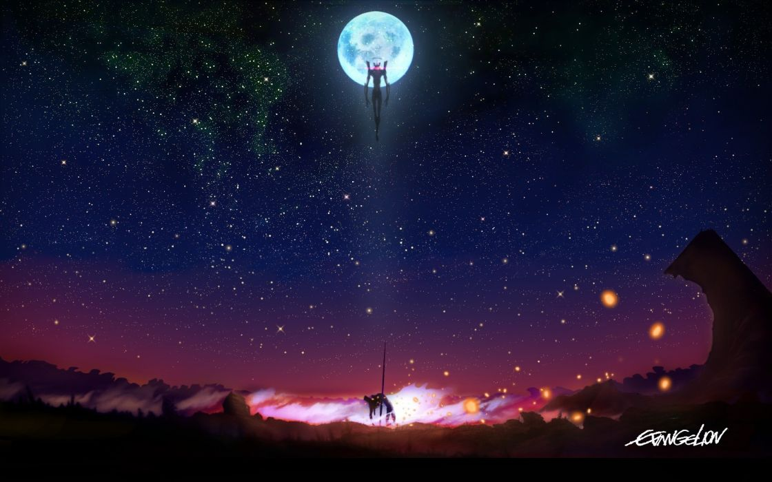 Night stars moon mecha neon genesis evangelion eva unit 01 wallpaper