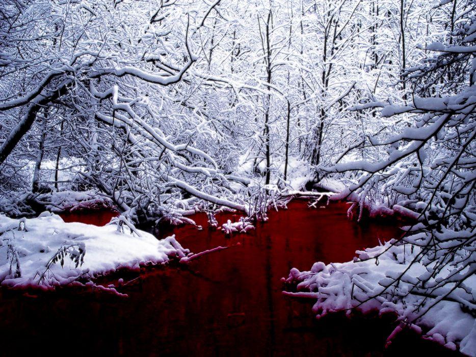 Snow blood lakes wallpaper