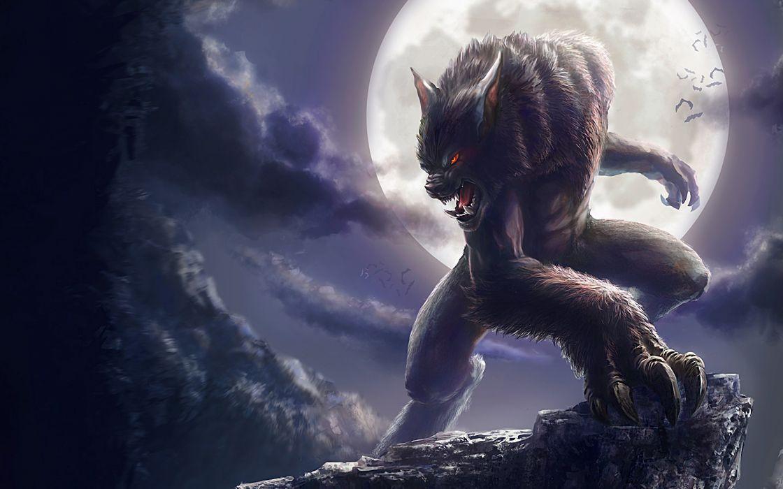 Monsters moon fantasy art werewolf artwork wallpaper