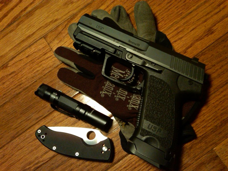 Guns gloves weapons knives heckler and koch usp  wallpaper