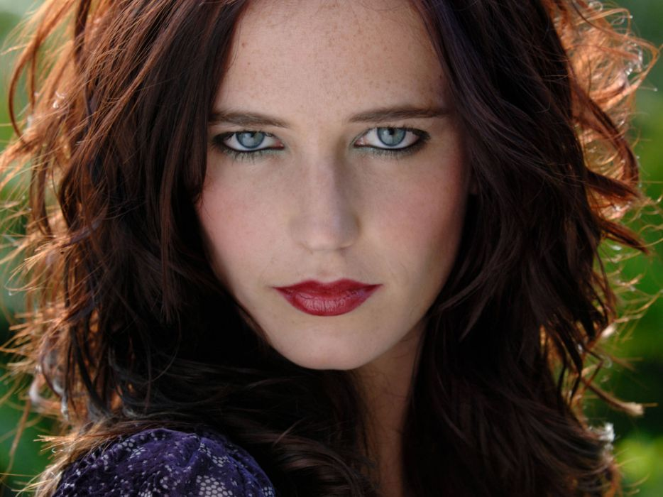 Brunettes women actress eva green red lips wallpaper